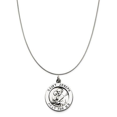 Joseph Metal (Sterling Silver Antiqued Saint Joseph Medal on a Sterling Silver Snake Chain Necklace, 16