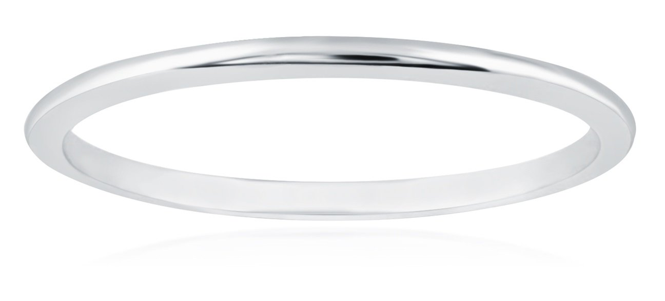 1mm Thin 14k White Gold Wedding Band Ring, Size 7