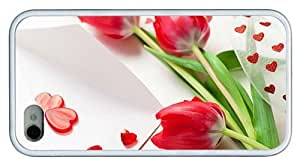 Hipster brand new iPhone 4S case hearts red tulips TPU White for Apple iPhone 4/4S