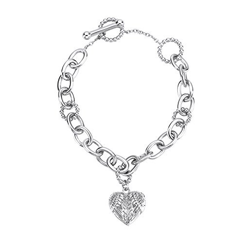 Jsely Real 925 Sterling Silver Bracelet Engraved Angel Wings Heart Locket