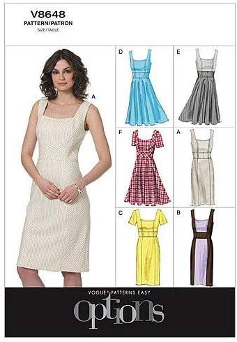 Talla AA: 36-42 Patrones de Costura para Vestidos de Mujer VOGUE PATTERNS V8648