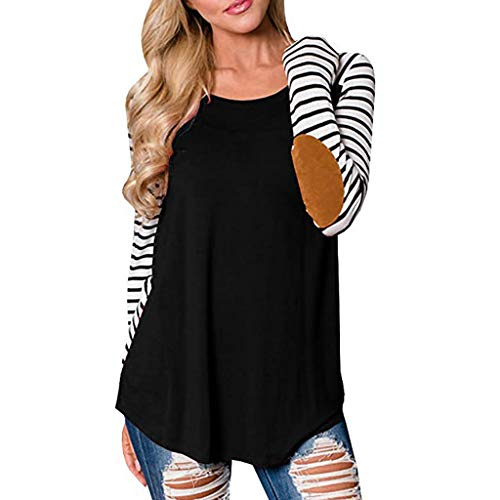 Cenglings Womens Casual O Neck Long Sleeve Stripe Tee Patchwork Tops Tunic Blouse ()
