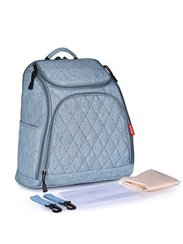 Muti-function Diaper Bag Backpack with Stroller Straps, Changing Pad, Wet Bag (Denim Blue) (Changing Pad Denim)