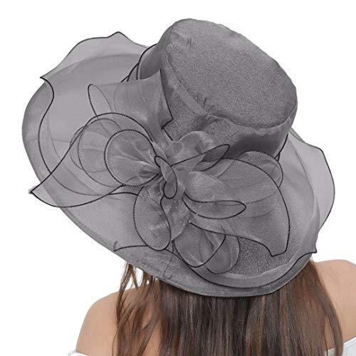 Women's Kentucky Derby Hat Wide Brim Foldable Organza Hat Tea Party Church Fascinator Hat Cap