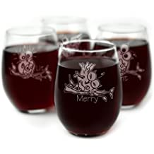 Drunk Owl Themed Engraved Stemless Wine Glasses - Set of 4