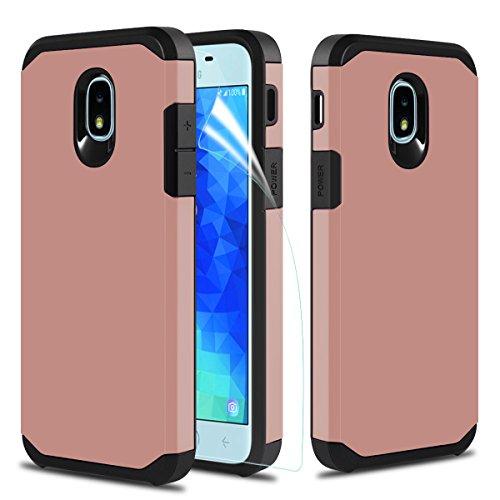 Samsung Galaxy J7 Refine Case,Galaxy J7 2018/J7 Star/J7 Crown/J7 V 2nd Gen/J7 Aura/J7 Aero/J7 Eon/J7 TOP Phone Case w Screen Protector Dual Layer Armor Hybrid Hard Heavy Duty Protective Case,Rosegold