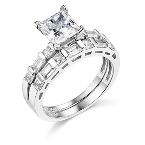 TWJC 14k White Gold SOLID Engagement Ring and Wedding Band 2 Piece Set - Size 7.5