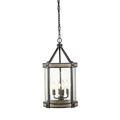 """Kichler Lighting Barrington Anvil Iron and Driftwood Rustic Single Seeded Glass Cylinder Pendant, 12.01"""" W"""