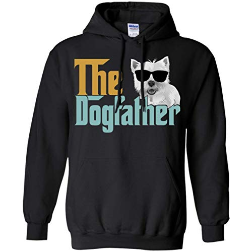 (AOYUA The Dogfather Westie Dog Vintage Hoodies for Father Tshirt Black)