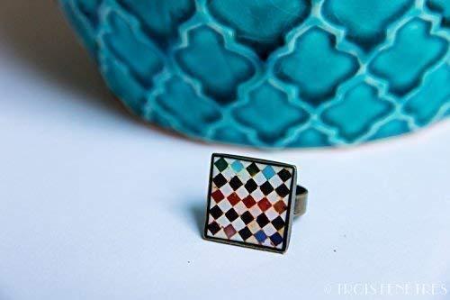 Bague Alhambra - 18mm - Mosaï que multicolore sur fond blanc - ré sine é cologique - Cadeau pour femme