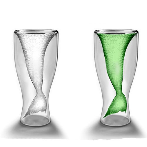 100ml Creative Crystal Mermaid Shaped Double Layer Glass Cup for Juice/Beer/Wine Drinking (Snake Juice Game)