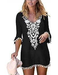 ce2f187230fbb Women s Crochet Pom Pom Trim Beach Tunic Swimsuit Cover Up Dress