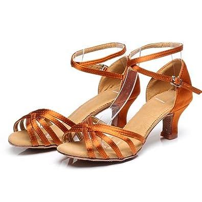 YFF Tanz Schuhe hochhackige Tango Ballroom Latin Salsa für Frauen, SCHWARZ 5 CM, 5.