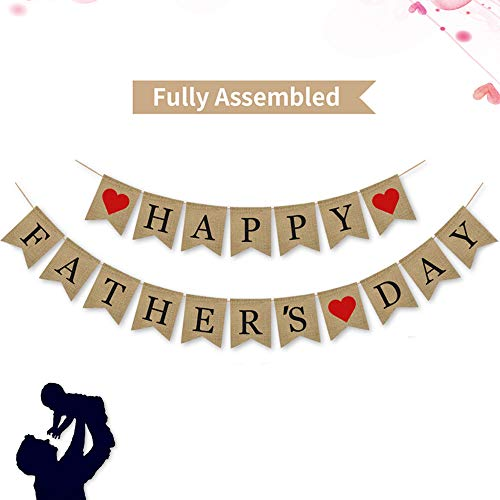 Happy Fathers Day Banner | Rustic Fathers Day Party Decoration Supplies| Fathers Day Gifts from Son and Daughter ()