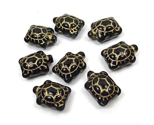 8 Pcs Czech Glass Turtles Beads Jet Gold Inlay Pendant Necklace Bracelet Jewelry Making Supplies Craft DIY Kit
