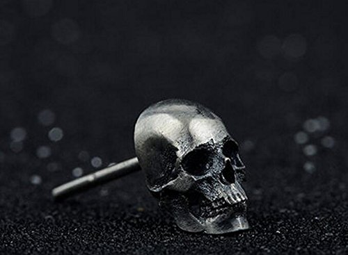 Collection Retro 925 Silver Skull Ear Stud Handmade Earrings Eardrop One Piece Simple Classical New Year