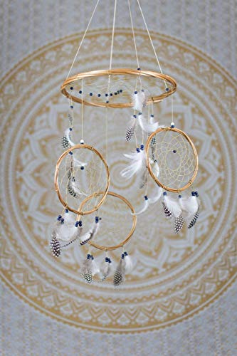 Large Navy and White Dream Catcher Mobile - 12'' / 30CM Diameter White Dreamcatcher Mobile Bohemian Dream Catcher Nursery Mobile Crib Mobile Cot Mobile Baby Mobile Boho Decor Wedding Decor by Hippie by Viki