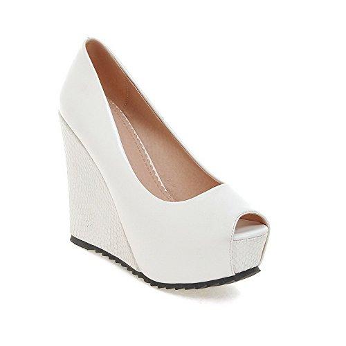 AllhqFashion Womens Soft Material Peep Toe High-Heels Pull-on Solid Sandals White flDxrMZM