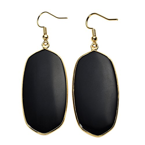 Top Plaza Womens Fashion Natural Gemstone Oval Rhombus Ear Hook Water Drop Ear Pendant Dangle Earring(Oval Black (Black Stone Drop Earrings)