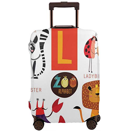 Travel Luggage Cover,Zoo Alphabet In L Letter With Lobster Lion Ladybird Lemur Humor School My Name Suitcase Protector (Best Zoo In France)
