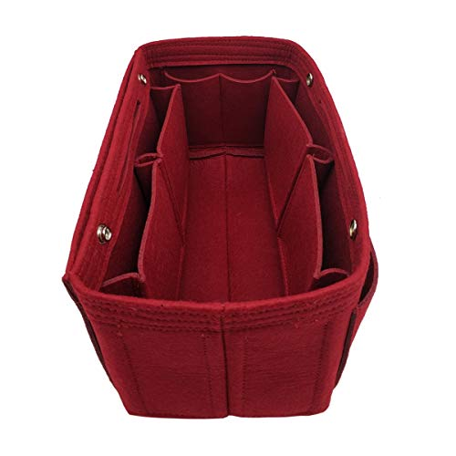 LEXSION Felt Fabric Purse Handbag Organizer Bag - MultiPocket Insert Bag 8008 Vine Red L