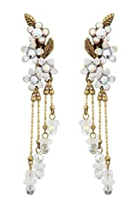 Michal Negrin Irresistible Dangle Earrings Ornate with Suspended Beaded Chains, 4 White Hand Painted Flowers and Leaf Ornaments, accented with Aurora Borealis and Silver Swarovski Crystals and Beads; Vintage Looking - Special Ordered and Shipped within 2 to 3 Weeks