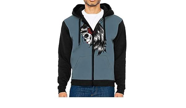 AIDANHAR Design Mens La-Calavera Catrina Mexico Skull Dead-Death with Hood Sack Zipper Hoodie Black