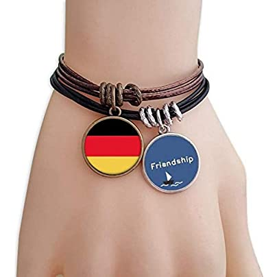 Germany National Flag Europe Country Friendship Bracelet Leather Rope Wristband Couple Set Estimated Price -