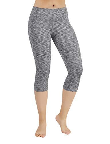- ODODOS Power Flex Yoga Capris Tummy Control Workout Non See-Through Pants with Pocket,SpaceDyeGray,Small