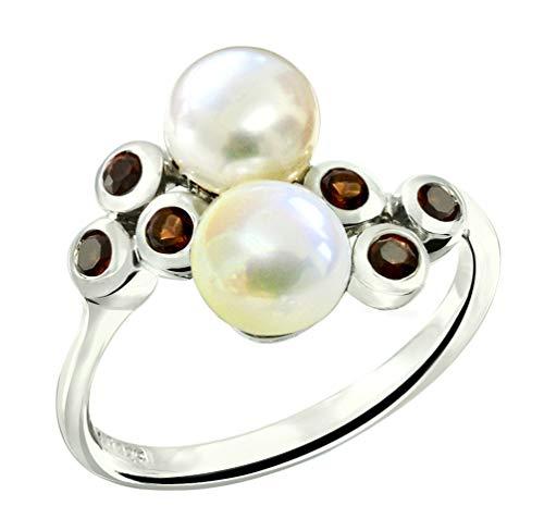 RB Gems Sterling Silver 925 Ring Freshwater Cultured Pearl Button 6 mm, Rhodium-Plated, Bezel-Set Gems (6, garnet)