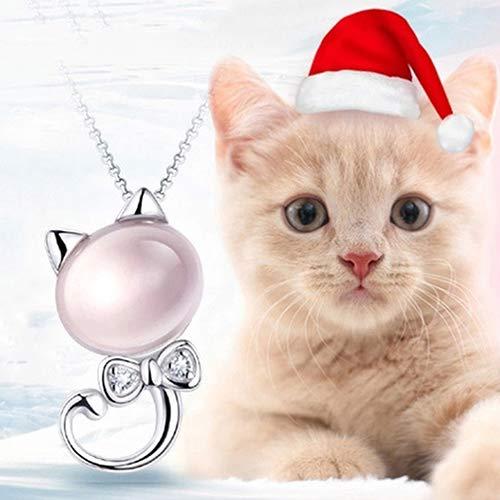 856store Novelty Women's Fashion Cute Kitten Rhinestone Pendant Silver Plated Chain Necklace