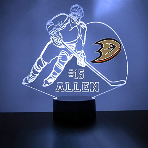 Anaheim Handmade Acrylic Personalized Ducks Hockey Player LED Night Light - Remote, 16 Color Option, Great Personalized Gift, Engraved -