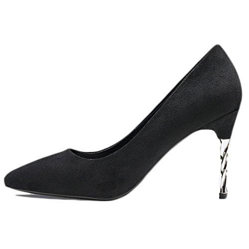 Travail Sexy Chaussures Party Daim EU Mariage Chaussures De Nightclub UK 9cm 34 Hauts Femme Mode Rouge Talons Cour 2 Strass Unique Black x68XnqYp