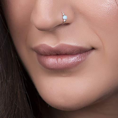 Thin Nose Ring Tiny Piercings Nose Rings hoop Green Opal piercing Hoop 20 gauge Sterling Silver Hoop Silver Nose Ring Green Opal
