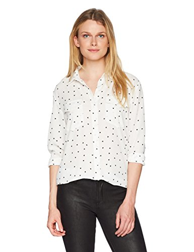 The Kooples Women's Heart Print Button Down Blouse, Ecru, 1 (Blouse Print Heart)