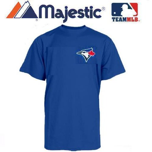 (Toronto Blue Jays (YOUTH MEDIUM) 100% Cotton Crewneck MLB Officially Licensed Majestic Major League Baseball Replica T-Shirt Jersey)