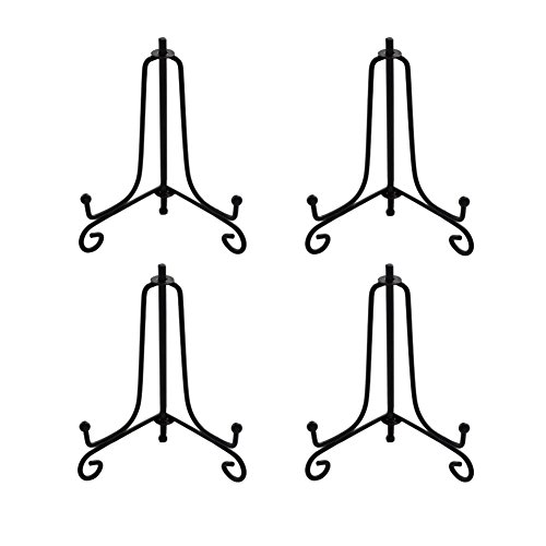 3.5 Inch Black Mini Iron Stand Cookie Holder Display Stand Place Card Holder Display Easels at Weddings, Birthday Party (4 pack) (Black Iron Stand)