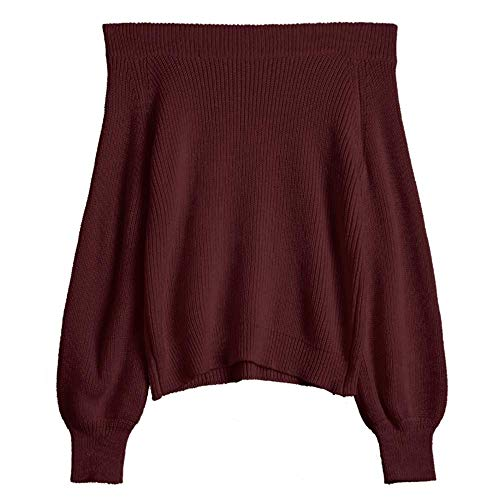 ZAFUL Women's Knit Sweater Lantern Sleeve Casual Batwing Sleeve Off Shoulder Loose Pullover Jumper (Red Wine) (Wine Sweater)