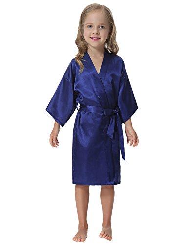 Aibrou Kids' Satin Kimono Robe Bathrobe Nightgown For Spa Party Wedding Birthday - Blue Girls Robe