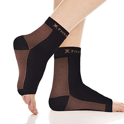 Thx4 Copper Plantar Fasciitis Socks with Arch Support,15-22mmHg Compression Foot Sleeve for Ankle & Heel Support, Reduce Swelling & Relieve Pain,Speed Up Recovery (1 Pair) … ()