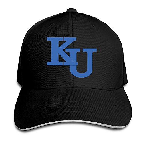 ACMIRAN University Of Kansas KU Logo Adjustable Sandwich Baseball Caps One Size Black ()