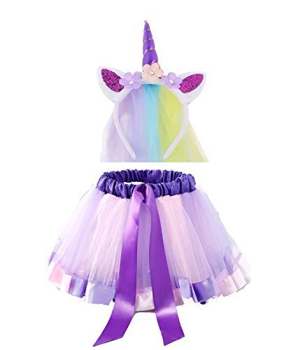 kaste Rainbow Tutu Skirt Layered Ballet Tulle Little Girls Dress up Colorful Hair Headband for Baby Girls(3-7) Years
