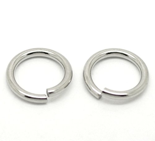HooAMI 100pcs Silver Tone Stainless Steel 2mm Open Jump Rings 15mm(5/8) Findings