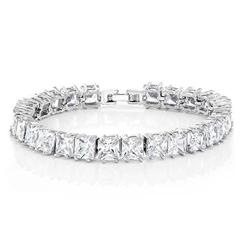 Gem Stone King 15.00 Ct Princess Cut Brilliant White CZ Fold Over Clasp Tennis Bracelet 7inches Brilliant Cut Princess Bracelet