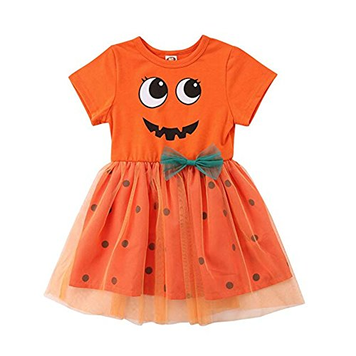 Baby Girl Halloween Costumes Pumpkin Smiles Short Sleeve Bodysuit Tutu Skirt Bowknot Dress Outfits 0-5 Years (Dress, 1-2 Years)]()
