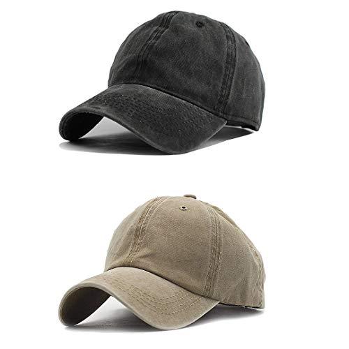 (Unisex Vintage Washed Distressed Baseball-Cap Twill Adjustable Dad-Hat (Z-2pc (Black+Khaki)))