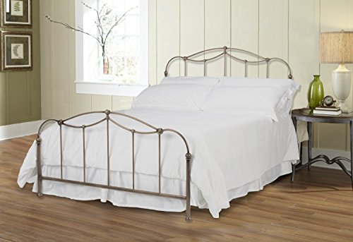 Fashion Bed Group Kalina Complete Bed with Metal Spindle Panels and Detailed Castings, Brushed Bronze Finish, Queen Size (Size Bed Headboard Queen Fashion)