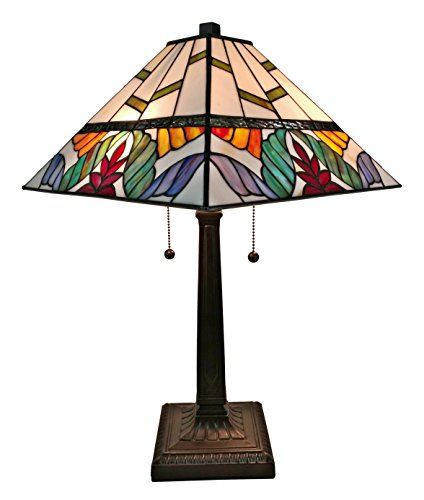 Amora Lighting AM305TL14 22 Inches Tall Tiffany Style Multi Color Mission Table Lamp, 22