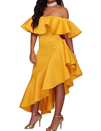 Yellow CXINS Womens Sexy Off Shoulder Asymmetric Party Dress Bodycon Ruffle fgBPqf