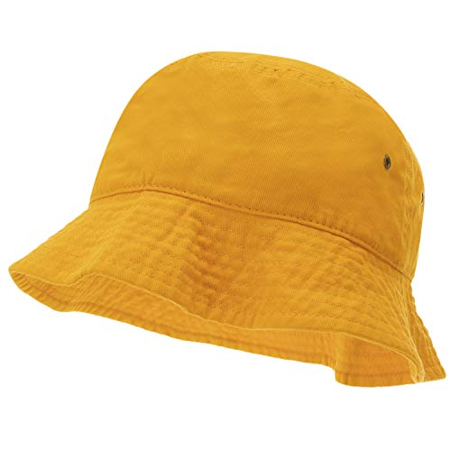 (Bandana.com 100% Cotton Bucket Hat for Men, Women, Kids - Gold - Single Piece - Large/Extra Large Size - Summer Cap Fishing Hat)